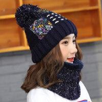 女士套头保暖帽子护耳围巾 韩版加绒针织毛线帽 休闲百搭毛球帽子女