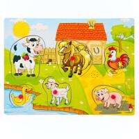 木质动物发声拼图儿童2岁宝宝玩具益智4-7岁男孩早教