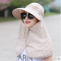 女士遮脸防晒帽太阳帽防紫外线帽子夏天遮阳帽骑车户外可折叠夏季