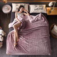毛毯被子珊瑚绒毯双人法兰绒午睡毯子小毛毯双层加厚保暖冬季床单