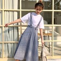韩版学院风甜美少女百搭宽松中腰格子两穿背带裙学生半身长裙