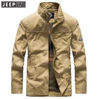 吉普JEEP秋冬新款纯棉立领中长款夹克男外套WGQ046商务休闲茄克衫