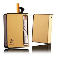 铝合金烟盒带充电打火机一体金属超薄个性创意点烟器创意个性防风带白灯USB充电烟盒10支装