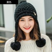 帽子女冬季韩版潮毛线帽甜美可爱加厚针织百搭保暖兔毛护耳帽
