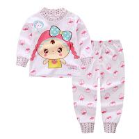 男童秋衣套装1女宝宝2内衣服3婴秋衣秋裤幼儿秋季纯棉套装4岁 玫红的 漂亮女孩