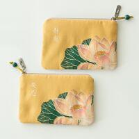 古风零钱包女中国风布艺硬币小方包迷你卡包零钱袋禅意复古小钱包 柠檬黄