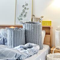北欧脏衣篮棉线脏衣篓家用脏衣服收纳筐布艺污衣篮儿童玩具储物箱