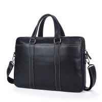 新款手提包男士商务包横款牛皮包包14寸电脑包 黑色