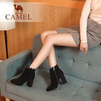 Camel/骆驼冬季新款 粗跟时尚柔软舒适优雅高跟尖头拉链女靴