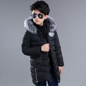 百槿 冬季男童加厚连帽迷彩手塞棉修身棉服 中大童长袖毛边连帽加厚保暖棉服