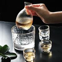 光一日式金边锤纹玻璃酒壶温酒器家用烫酒壶黄酒加热透明酒具酒杯套装