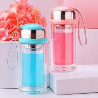 可爱双层玻璃杯便携花茶杯韩国过滤水杯耐热随手杯有盖喝水瓶杯子