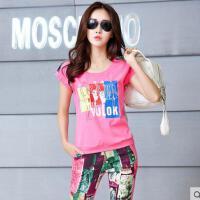 短袖七分裤休闲套装 运动套装女 修身显瘦韩版印花女士运动服套装