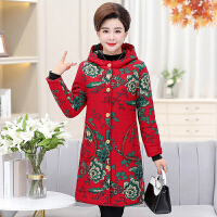 中老年女装冬装棉衣大码加厚中长款妈妈奶奶加绒保暖棉袄大衣