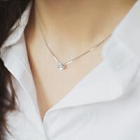 925纯银单钻项链 水钻锁骨链女银饰 时尚配饰银链子
