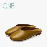 CNE2019春夏款拖鞋女外穿日系纯色平底穆勒鞋懒人女拖鞋9M14101
