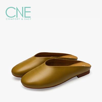 CNE2019春夏款拖鞋女外穿日系纯色平底穆勒鞋懒人女拖鞋9M14101 纯色平底穆勒鞋懒人女拖鞋