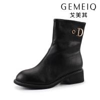 戈美其冬新款加绒保暖时尚马丁靴中跟中筒靴百搭短靴女骑士靴棉鞋