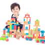 【当当自营】木玩世家100粒大块木制积木玩具1-3岁儿童宝宝益智早教桶装玩具 EB002