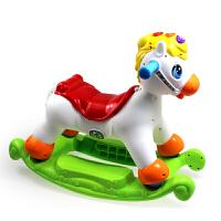 宝宝摇摇马四轮滑行小木马婴幼儿童塑料音乐摇椅1-3周岁玩具汇乐