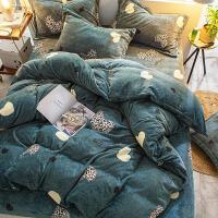 单人被罩 短毛进口牛奶绒棉四件套短毛绒豹纹床单保暖被罩1.5m1米8双人冬季床品
