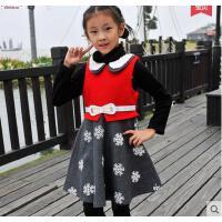 韩版公主裙儿童羊毛呢子加绒加厚背心裙童装女童连衣裙秋冬款两件套