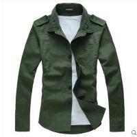 韩版时尚肩章军款男士衬衫男工装军旅纯色长袖衬衫修身男装衬衣潮