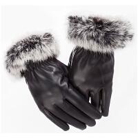 秋冬中老年女士妈妈保暖手套老年人真兔毛手套老人手套女冬天 黑色 均码