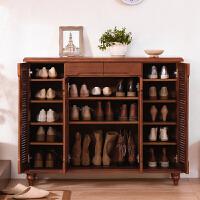 实木鞋柜多层大容量门厅柜美式玄关客厅对开门收纳柜多功能储物柜 整装
