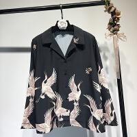 女装 复古印花仙鹤衬衫女2018春欧美风港味西装领长袖衬衣潮
