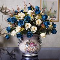 仿真花束 含花瓶套装塑料假干花卉客厅摆件餐桌中欧式人造艺术陶瓷盆栽摆设装饰品Q