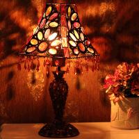 古典串珠欧式台灯床头灯灯饰彩片方锥罩装饰暖光白色卧室床头创意客厅小灯饰