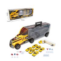 儿童模型手提礼盒货柜汽车玩具轨道车带7只合金车玩具 汽车模型
