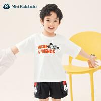[米奇IP]迷你巴拉巴拉短袖2021夏季男女童宽松环保亲肤纯棉T恤
