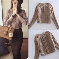 短款毛衣女套头秋冬加厚宽松针织打底上衣高腰粗毛线裙套装两件套