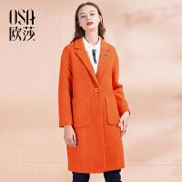 OSA欧莎冬装新款纯色西装领 韩版廓形感毛呢外套女D21117