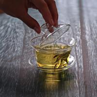 三才玻璃盖碗茶杯大号手抓功夫敬茶碗琉香玻璃盖碗茶杯子大码茶碗敬茶杯150ML茶道功夫茶具花茶杯