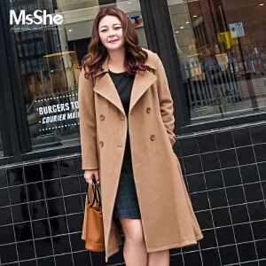 MsShe大码女装2017新款冬装毛呢大衣90%羊毛外套收腰a摆M1740548