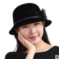 帽子女冬天帽子韩版毛呢小礼帽英伦时尚贵妇帽户外休闲盆帽