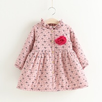 女童加绒连衣裙季宝宝夹棉开襟裙子 儿童公主裙小女孩娃娃衫 粉色春秋薄款 双层棉布材质
