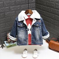 男童3季4儿童棉袄5男宝宝童装6岁韩版加绒牛仔衣外套装夹克潮