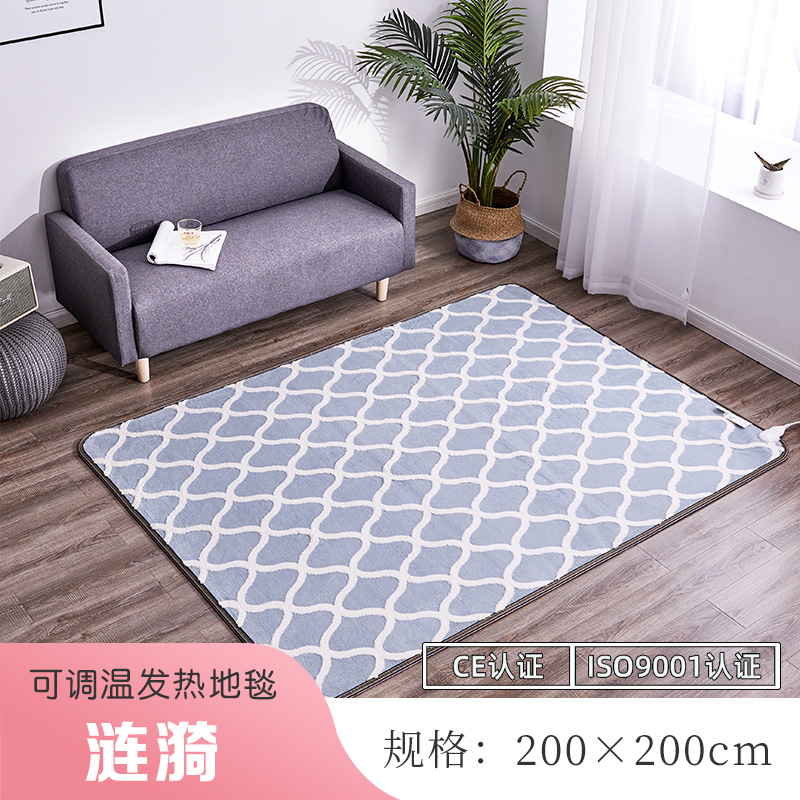 韩国碳晶移动地暖垫家用电热地毯客厅卧室加热地垫电热地垫地热垫 200*200cm 涟漪 暖绒面料