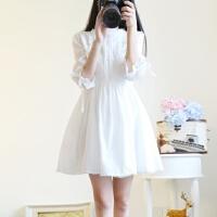新款连衣裙女春夏季韩版学生初恋复古裙子小个子150cm少女甜美a字短裙 白色