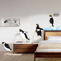 斯图(sitoo) 客厅卧室背景大面积可移除墙贴 壁纸 装饰贴 可爱企鹅 8977