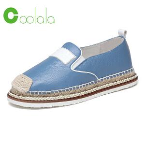 红蜻蜓coolala 2017春季新品真皮休闲鞋 时尚复古女单鞋平底鞋