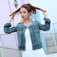 外套 女士圆领单排扣短款长袖外套2020年秋季新款韩版时尚女式清新甜美女装牛仔衣