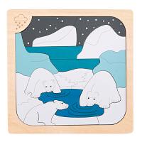 【特惠】Hape多层情景拼图-极寒与炎热5岁+早教启蒙木制玩具积木拼插拼图拼板E6519