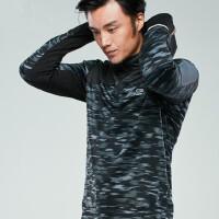 男士运动卫衣T恤 抓绒连帽套头衫臂包长袖跑步服