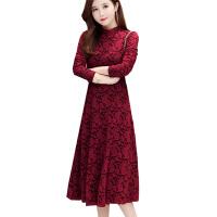 2018秋冬新款连衣裙女过膝高贵蕾丝中长款加绒加厚打底裙子