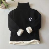 儿童高领毛衣男童加绒加厚季纯棉保暖女童白色黑色套头打底线衫 小提示! 胸前图标两种随机发!